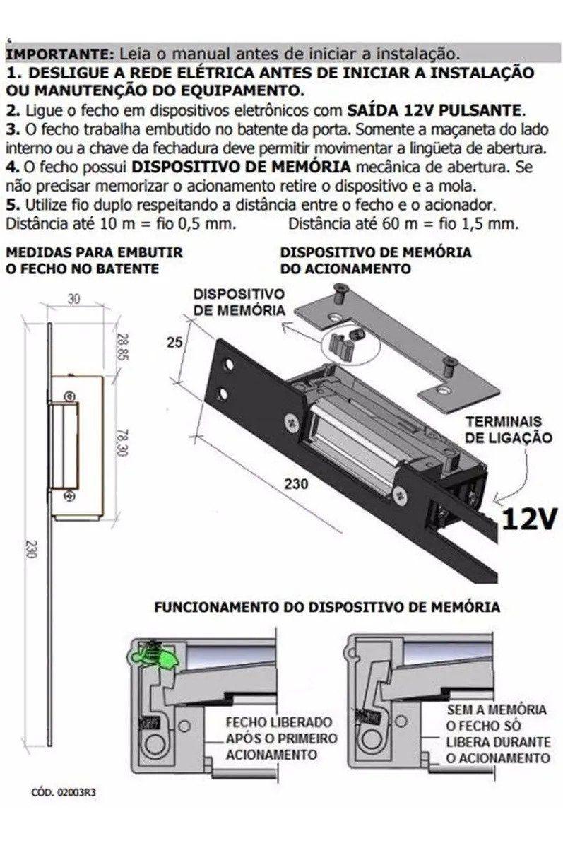 fecho eletrico 12v agl 8557